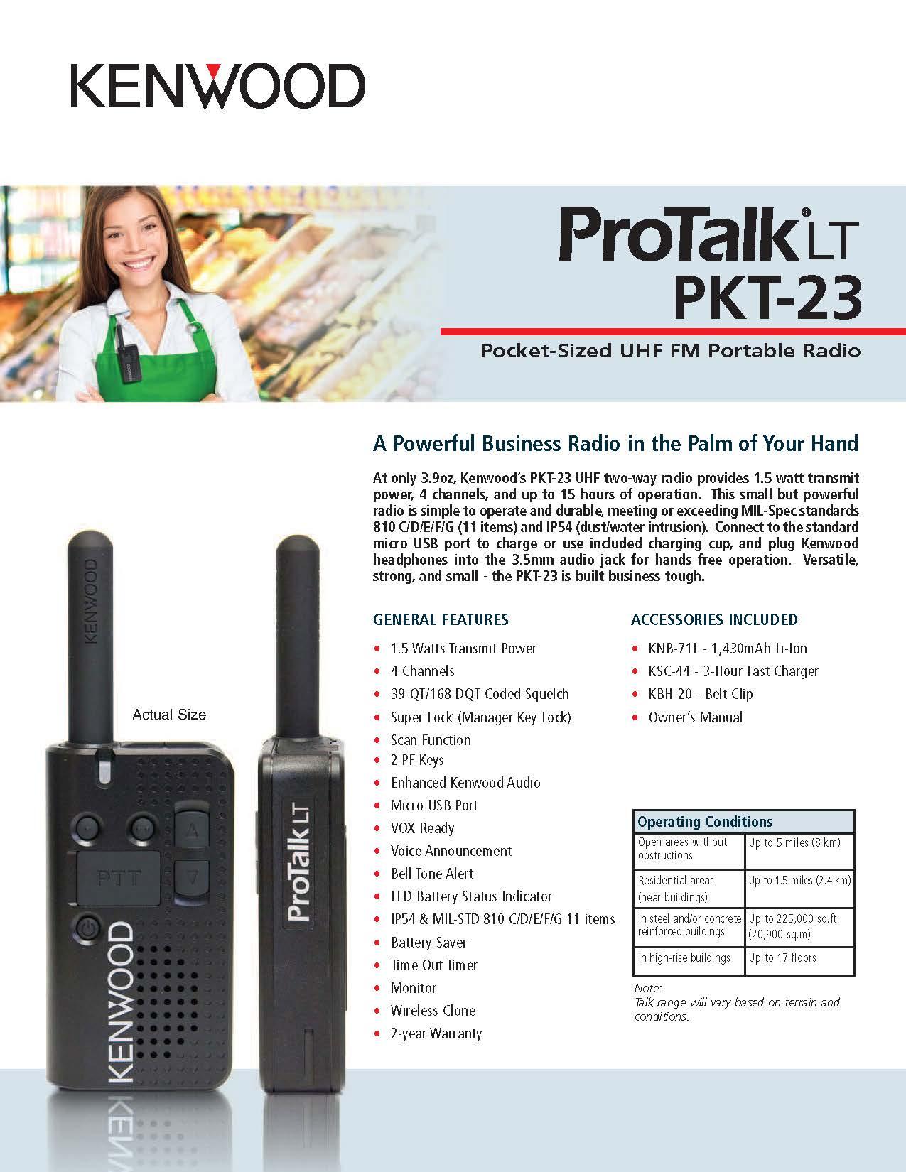 PTK-23 Spec Sheet
