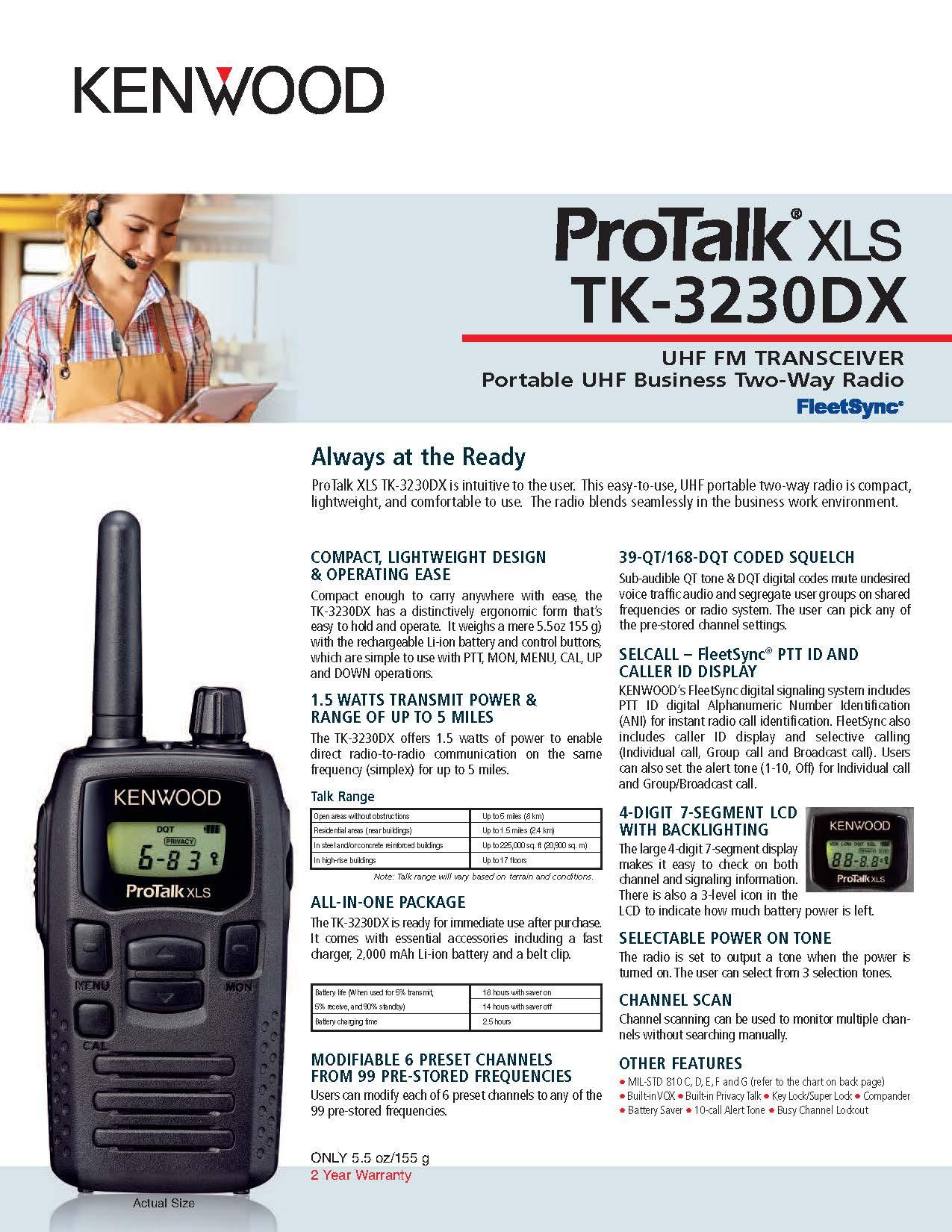 TK-3230DX specsheet 2017