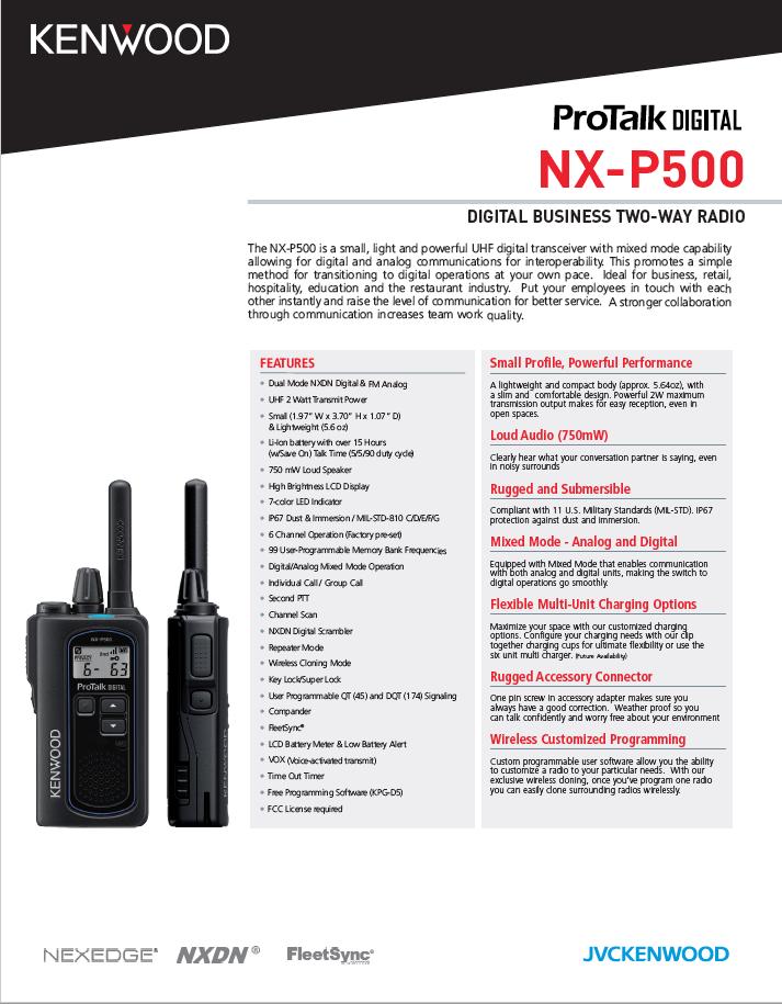 NX-P500 Spec Sheet